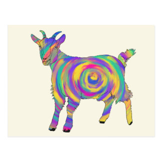 Funny Psychedelic Goat Colourful Spiral Animal Art Postcard