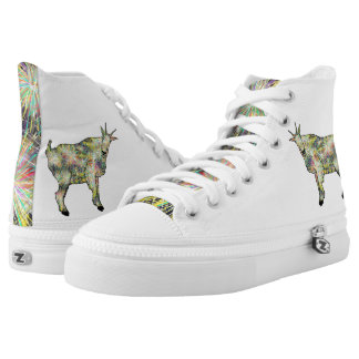 Funny Psychedelic Yellow Goat Animal Art Design High Tops