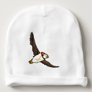 Funny Puffin With A Stripy Winter Hat On Baby Beanie