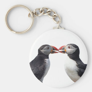 Funny puffins basic round button keychain