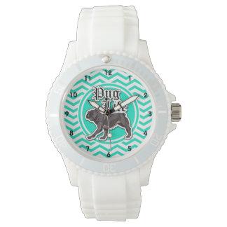 Funny Pug; Aqua Chevron Watches
