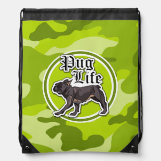 Funny Pug; bright green camo, camouflage Drawstring Bag