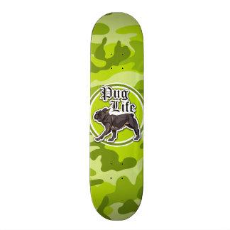 Funny Pug bright green camo camouflage Skate Decks