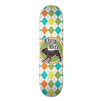 Funny Pug; Colorful Argyle Pattern Skateboard Decks
