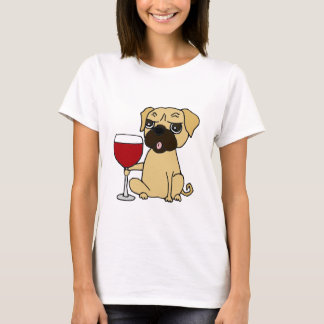 Funny Pug Dog Drinking Red Wine T-Shirt