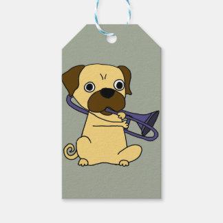 Funny Pug Dog Playing Trombone Gift Tags