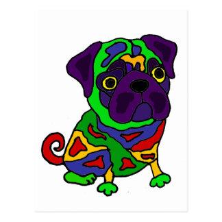 Funny Pug Dog Pop Art Postcard