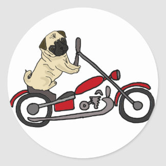 Funny Pug Dog Riding Motorcycle Art Classic Round Sticker