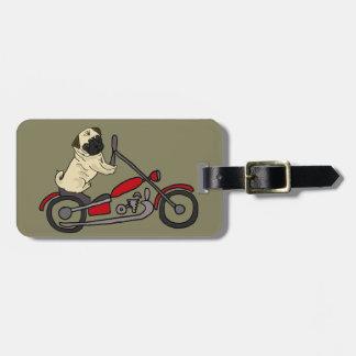 Funny Pug Dog Riding Motorcycle Art Luggage Tag
