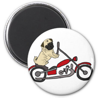 Funny Pug Dog Riding Motorcycle Art Magnet