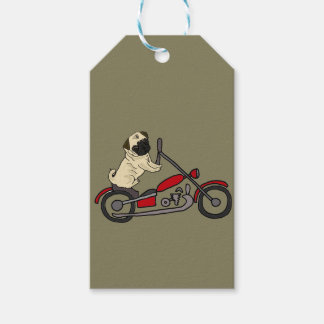 Funny Pug Dog Riding Motorcycle Art Pack Of Gift Tags