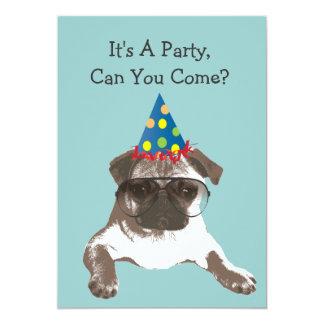 Funny Pug in Glasses Birthday Party Invitation