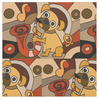 Funny Pug Playing Saxophone Abstract Fabric