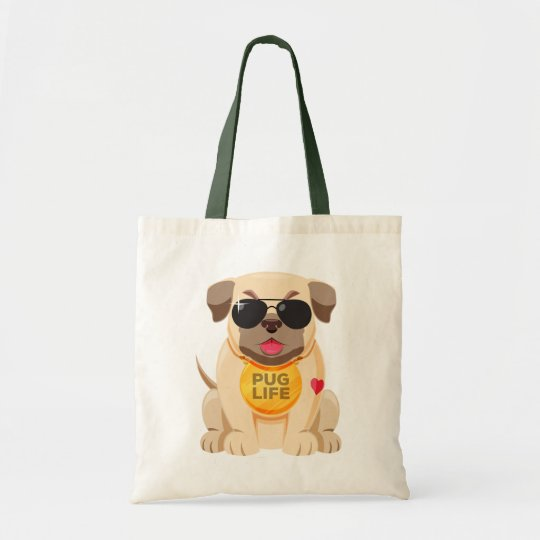 Funny Pug Puppy Dog Cartoon Canvas Tote Bag