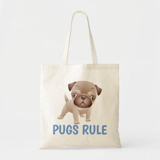 Funny Pug Puppy Dog Cartoon Canvas Tote Bag