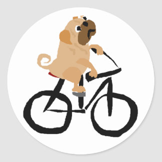 Funny Pug Puppy Dog Riding Bicycle Classic Round Sticker