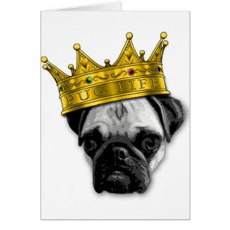 Funny Pug Wearing a Crown PUGLIFE Poop K-9 Card