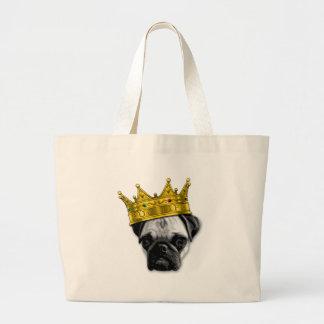 Funny Pug Wearing a Crown PUGLIFE Poop K-9 Large Tote Bag