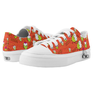 Funny PUlga de flea cartoon pattern shoes red