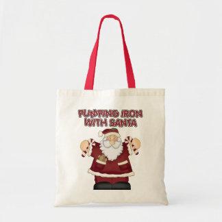 Funny Pumping Iron With Santa Tote Bag