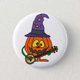 Funny Pumpkin Man Playing Banjo Cartoon 2 Inch Round Button