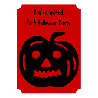 "Funny pumpkin with cut out face halloween party 5"" x 7"" invitation card"
