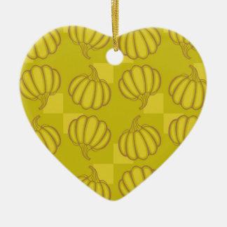 Funny pumpkins ceramic heart ornament