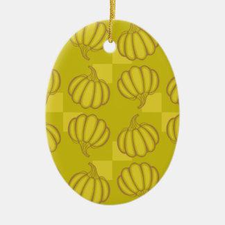 Funny pumpkins ceramic oval ornament