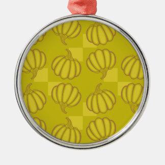 Funny pumpkins Silver-Colored round ornament