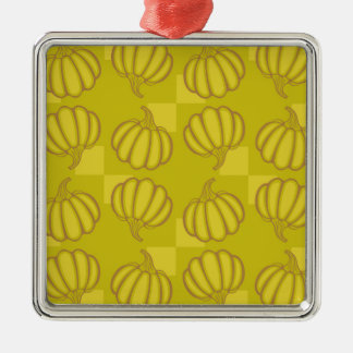Funny pumpkins Silver-Colored square ornament