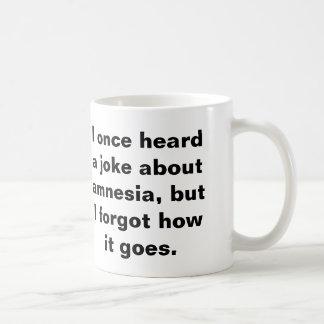 Funny pun about amnesia coffee mug