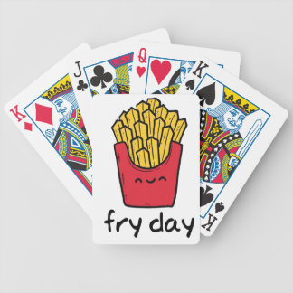 Funny pun Friday happy french fries cartoon Bicycle Playing Cards