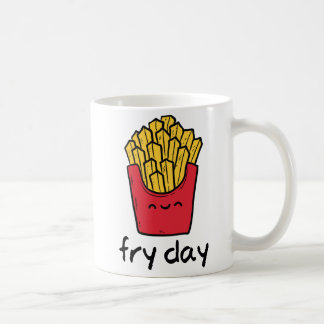 Funny pun Friday happy french fries cartoon Coffee Mug