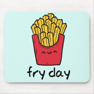 Funny pun Friday happy french fries cartoon Mouse Pad