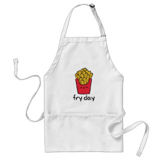 Funny pun Friday happy french fries cartoon Standard Apron