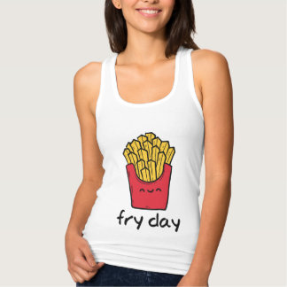 Funny pun Friday happy french fries cartoon Tank Top