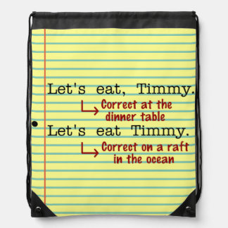 Funny Punctuation Grammar Drawstring Bags