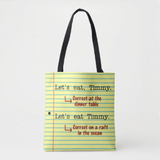 Funny Punctuation Grammar | Let's Eat Timmy Yellow Tote Bag