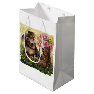 Funny puppy and shoes with flowers medium gift bag