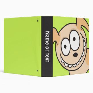 Funny puppy dog animal cartoon green school binder