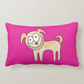 Funny puppy dog animal cartoon hot pink pillow