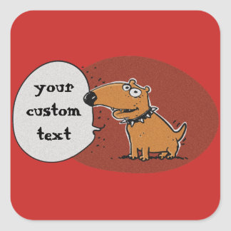 funny puppy says something cartoon square sticker