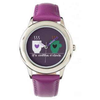 Funny Purple Coffee O'clock Love Couple Mugs Cute Watch