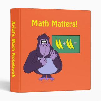 Funny Purple Counting Gorilla Cartoon Math Binder
