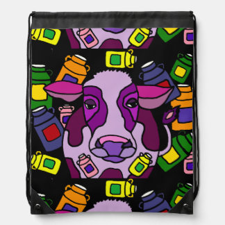 Funny Purple Cow and Milk Abstract Art Backpack