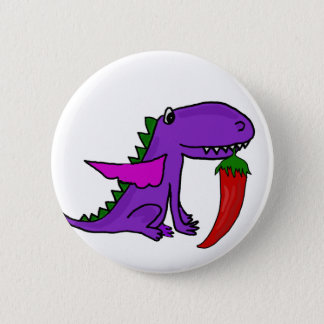 Funny Purple Dragon Eating Red Hot Pepper cartoon 2 Inch Round Button