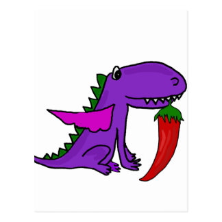 Funny Purple Dragon Eating Red Hot Pepper cartoon Postcard