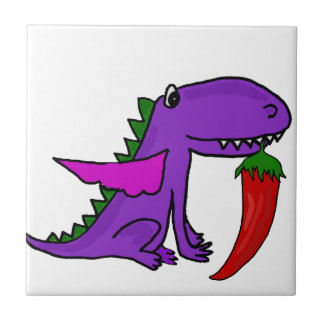 Funny Purple Dragon Eating Red Hot Pepper cartoon Tile