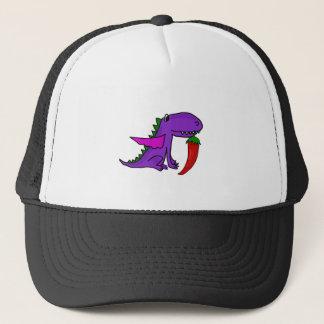Funny Purple Dragon Eating Red Hot Pepper cartoon Trucker Hat