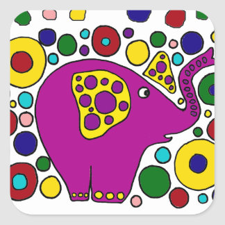 Funny Purple Elephant Abstract Art Design Square Sticker